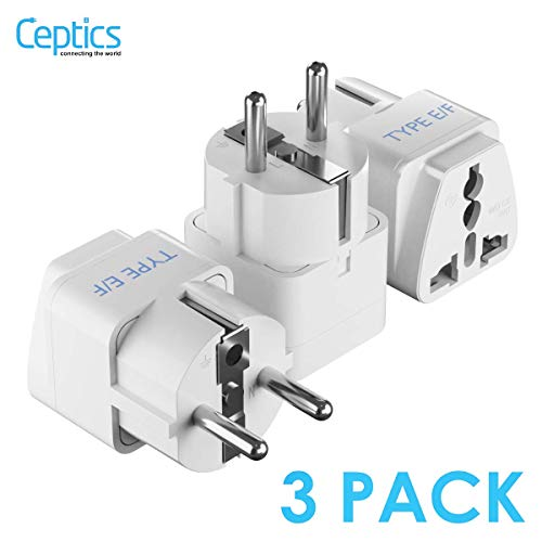 Schuko, Germany France Travel Power Adapter by Ceptics, Grounded European Plug - Type E/F Outlet, Adaptor for USA to Europe EU Socket - 3 Pack - Use In Norway, Korea, Spain, Greece, Russa, Iceland