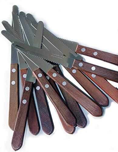 Tramontina - Lot 12 couteaux manche bois lame acier inoxydable originaux pointe ronde cuisine Brésil viande steak maison
