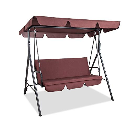 Pamapic Garden 3 Seater Swing Patio Canopy Swing with Removable Cushion and Convertible Canopy, Outdoor Swing Glider for Patio, Garden, Poolside, Balcony (Brown)