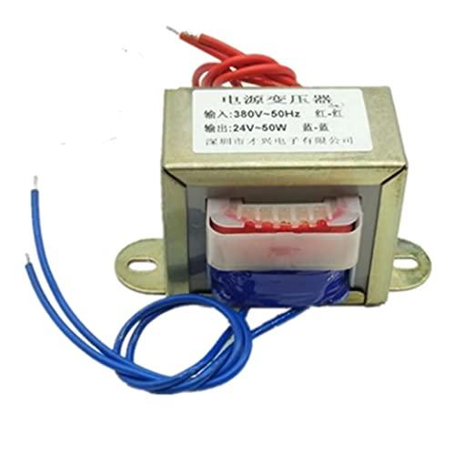 LIUZHENQIANG Lzqiang 1 unids EI66 Transformador de Potencia 50W / 50VA Entrada AC 380V / 50HZ -Output AC Single 24V 2A (Color : Input AC 380V 50Hz, Output Voltage : Output AC 24V)