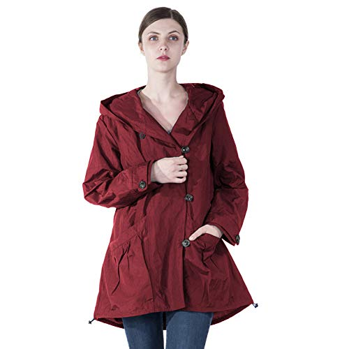 Infron IN FRONT Women Plus Size Jacket Water-repellent Raincoat Elegant Hooded Single-Breasted Anorak Coat Spring/Fall Lightweight Windbreaker