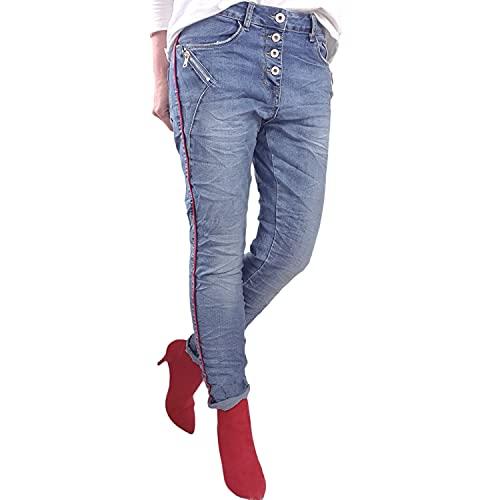 Karostar Jeans stretch da donna, pantaloni lunghi in denim con strisce laterali rosse e cerniera decorativa Denim Red Strpes M