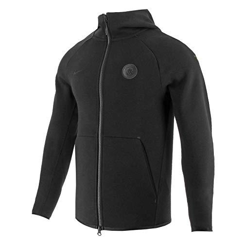 Nike Herren Manchester City FC Techfleece Hoodie AUT, Black/Black/Black, S