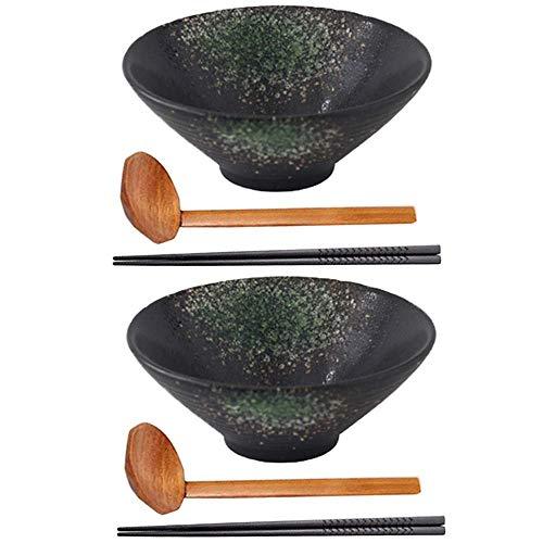 Kitchen & Dining Juego de tazones de Sopa de Ramen tazón de cerámica japonés para Servir con Cuchara y Palillos a Juego tazones de Ramen para Sopa Fideos Pho Udon y Soba (2 Juegos (6 p