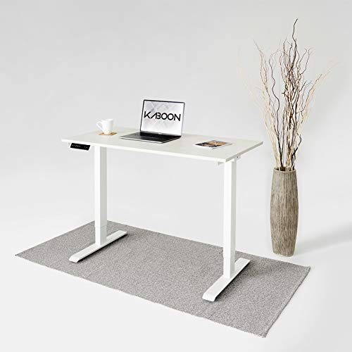 Kaboon Dual Motor Standing Desk Adjustable Height Smart Desk Electric Adjustable Desk Home Office, Wooden Sit Stand Desk, Ergonomic Desk with One-Piece Wood Table top(47×24 White Top, White Frame)
