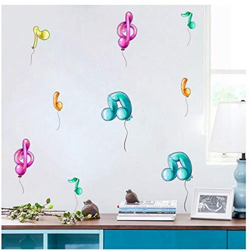 MINGKK - 30 pegatinas de pared, diseño de música y nota, balón de colores, para niños, dormitorio, pared, gabinete, frigorífico, etc.