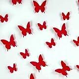 Ambiance-Live Juego de 12 Adhesivos 3D de Mariposas Rojas