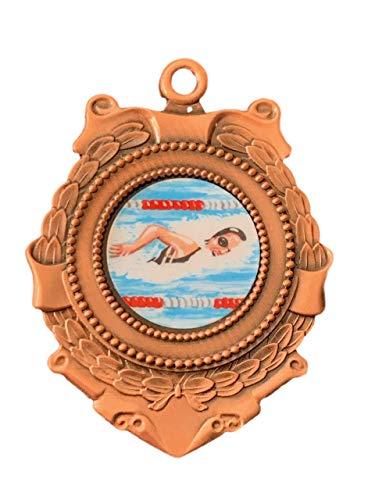 Emblems-Gifts Personalisierte Triumph 65 mm weibliche Schwimmer Bronze Medaille & Band