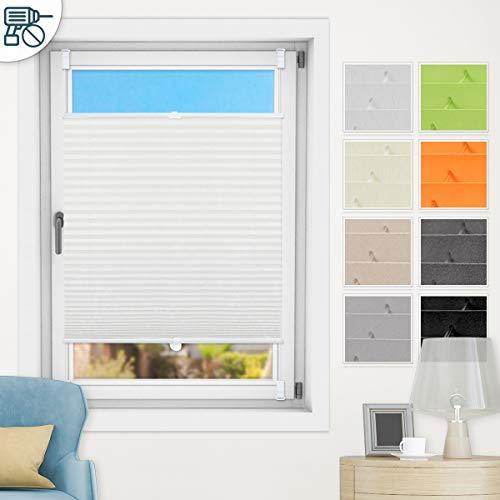 Bernice Plissee klemmfix ohne Bohren, Weiß 50x200cm(BxH) Easyfix Faltrollo mit Klemmträger, Crushed Optik Fensterrollo, Blickdicht Plisseerollo für Fenster & Tür
