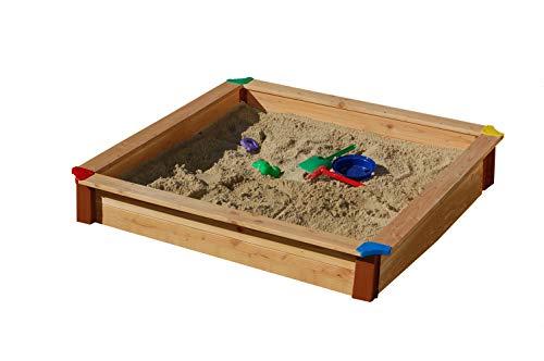 GASPO Sandkasten Classic Sandbox aus Holz einfaches Bausatzsystem, Natur, 130 x 130 x 20 cm