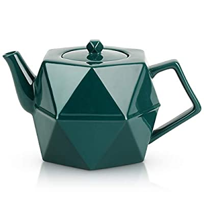 Teapot, Toptier Porcelain Tea Pot with Stainless Steel Infuser for Loose Tea, Diamond Design Ceramic Teapot for 34 Ounce (1000 ml), Green