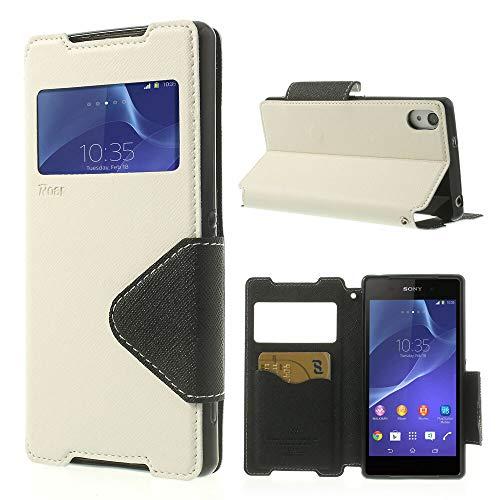 NessKa® Funda para Sony Xperia Z2 | Funda en blanco | Funda para teléfono móvil con tarjetero y ventana y función atril funda tipo libro de piel sintética de alta calidad