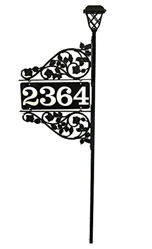 Double Sided Address Sign with Double Scroll Reflective Address & Solar Light Driveway Marker - 911 Visible - Custom Made in the USA