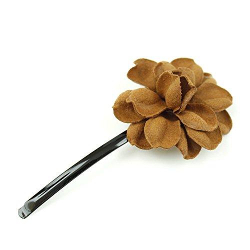 rougecaramel - Accessoires cheveux - Mini pince fleur en cuir véritable - marron