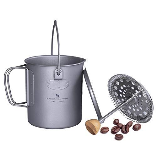 iBasingo Camping Becher Titan Kaffeetasse mit French Press Gerät Filter Outdoor Teetasse Tragbar Ultraleicht Kochen Hängetopf Große Kapazität Multifunktions Outdoor Reisebecher 750ml Ti1581A