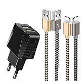 Chargeur USB,Prise USB Secteur Chargeur Secteur USB 2 Ports avec Chargeur Phone[1.5m/Lot de 2]...