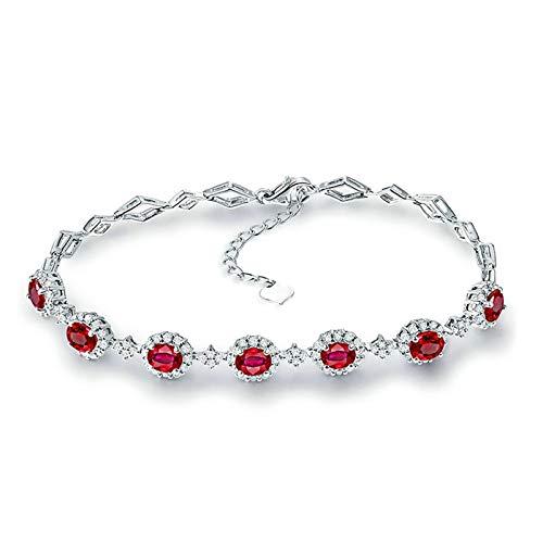Daesar 18K White Gold Bracelets for Women, Rhombus 2.7ct Ruby Friendship Bracelet Ladies White Gold Bracelet Chain