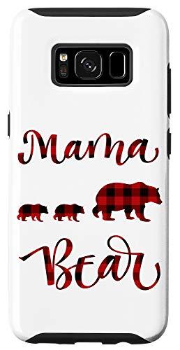 Galaxy S8 Cute Mama Bear 2 Cubs Buffalo Black and Red Plaid Case