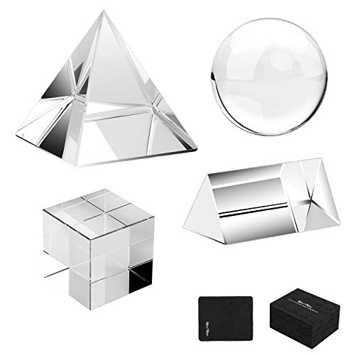 MerryNine 4 Pack K9 Optical Crystal Photography Kits, 60MM Lens Crystal Ball and Cube, 60MM Crystal Prism and Pyramid, for Photography Teaching Light Spectrum Physics and Photo Prism Art Decor