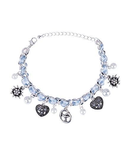 SIX Oktoberfest - Damen Armband, Armschmuck, Gliederarmband, Bettelarmband, Anhänger, Perlen, Herzen, Verkleidung, Fasching, Karneval (748-642)