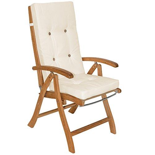 Detex® Stuhlauflagen Vanamo Befestigungsschlaufen 6er Set Auflage Hochlehner Sitzauflage Stuhlkissen Kissen Creme