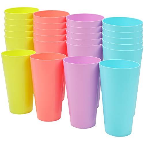 BELLE VOUS Bunte Plastikbecher (24er Pack) 600 ml Wiederverwendbare Trinkbecher in 4 Farben - Stabile Plastikbecher für Parties, Camping, BBQs, Picknicks & Strand - Spülmaschinen Geeignet & BPA Frei