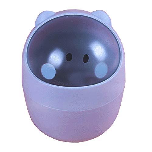 Gnohnay desktop mini vuilnisemmer tafel vuilnisbak prullenbak tafelvuilnisbak van plastic, tafelafvalemmer (lekvrij) blauw