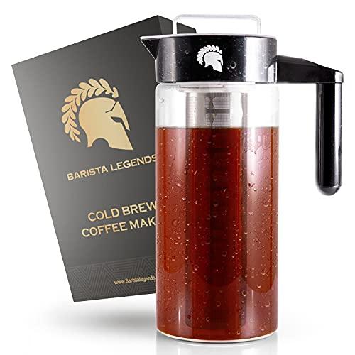 Barista Legends Cold Brew Coffee Maker - 2000ml Glas Kaffeebereiter mit Kunststoff Griff - Optimale Form für den Kühlschrank dank schlankem Design - permanent Edelstahlfilter für perfekten Coldbrew
