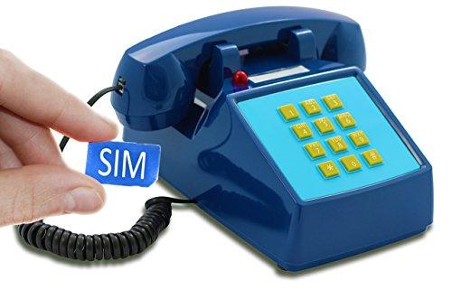 OPIS PushMeFon Mobile: móvil de sobremesa/teléfono Fijo con sim/teléfono móvil para Mayores/teléfono Retro móvil con Disco de marcar (Azul Marino)
