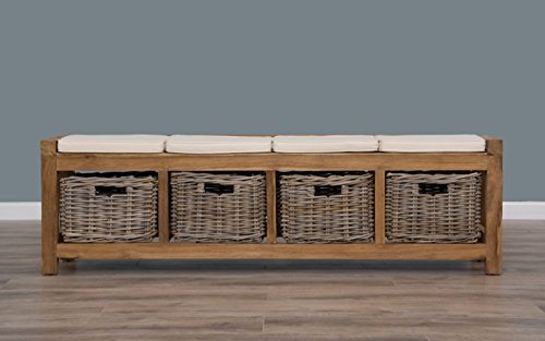 Sustainable Furniture Reclaimed Teak Hall Seat with 4 Kubu Grey Natural Wicker Drawers & Seat Cushions, Wood, 4 Basket