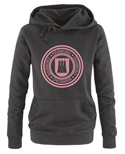 Comedy Shirts - Stadtwappen Hamburg - Damen Hoodie - Schwarz/Rosa Gr. S