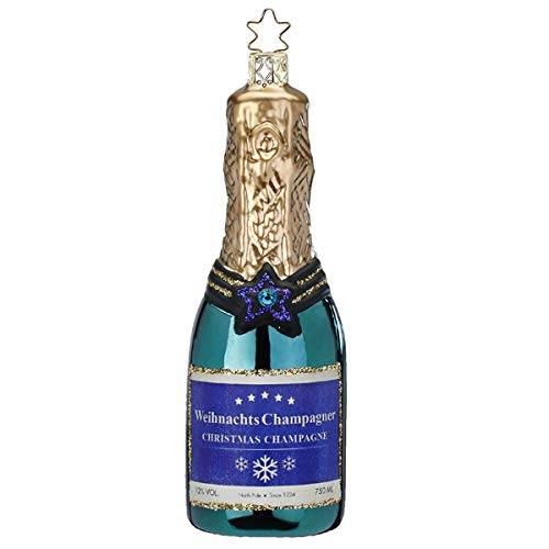Inge-glas - Christbaumschmuck, Baumschmuck - Flasche - Sekt - Champagne Blaugrün - Glas - Mundgeblasen - Größe: 12,5 cm