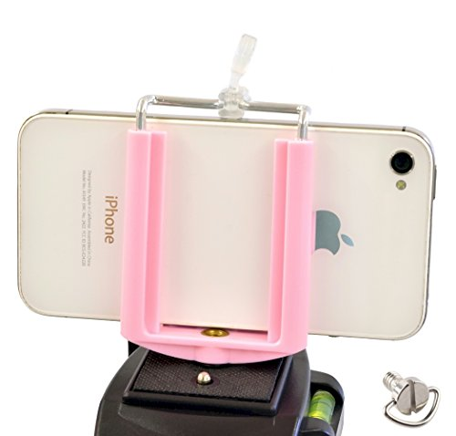 DaVoice Cell Phone Mount for Tripod, Compatible with iPhone and Smartphones with Universal Clamp Attachment Clip, Light Pink