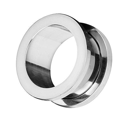 Taffstyle Túnel dilatador para la oreja, de acero inoxidable, con cierre de rosca, 3 mm, color plateado