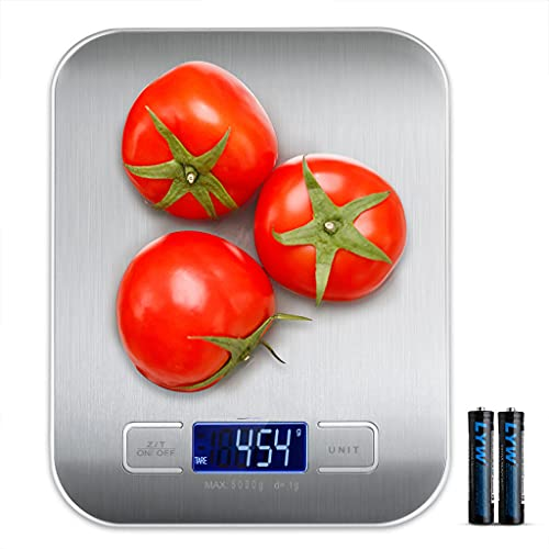 Stainless Steel Electric Food Scale for Kitchen, Cooking, Weight Loss, Baking; Small Food Scales Digital Weight Grams and Oz, Supports Max Weight Up to 11LB