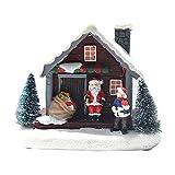 MagiDeal Mini casa de Nieve navideña con luz LED, casa de muñecas de Pueblo, Estatua, Edificio, Dormitorio, Escritorio, jardín, decoración, Regalo para niños y