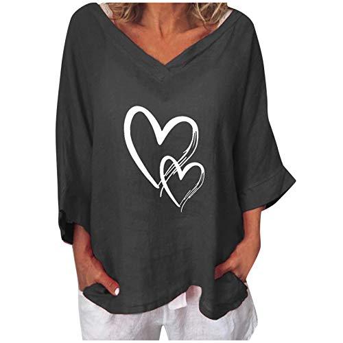 Blusas y Camisas de Manga 3/4 para Mujer, 2021 Moda Casual Camiseta de Impresión de Cartas y Corazón Moda Informal Blusa Jersey Tops Cuello Redondo Suelto Talla Grande Primavera Verano(C Negro,3XL)