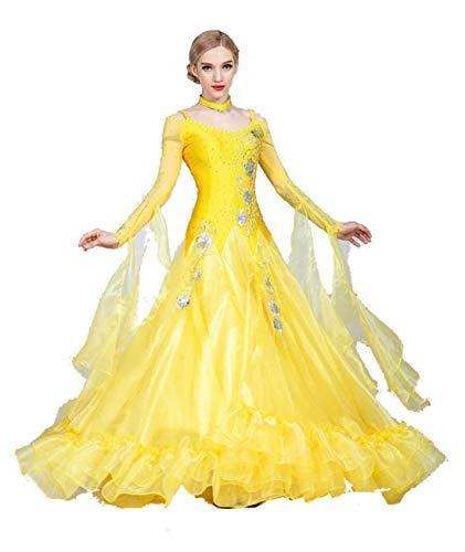 Fhxr Vestido de baile de saln estndar nacional para mujer, traje de danza moderna, vestido de vals de baile social (color amarillo, tamao: XXXL)