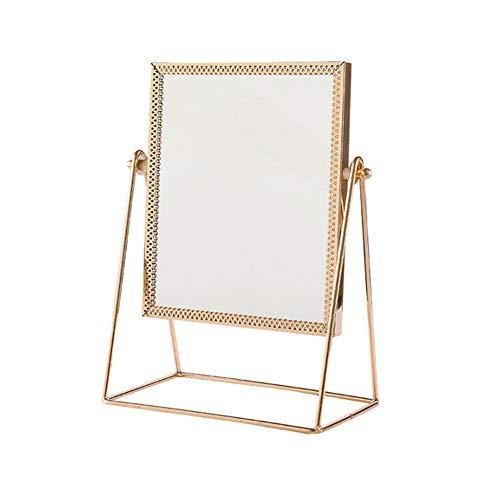 LBSC Espejo de maquillaje, desmontable y giratorio de 360 grados, espejo de mesa de metal, espejo cosmético hecho a mano, espejo de maquillaje, dorado