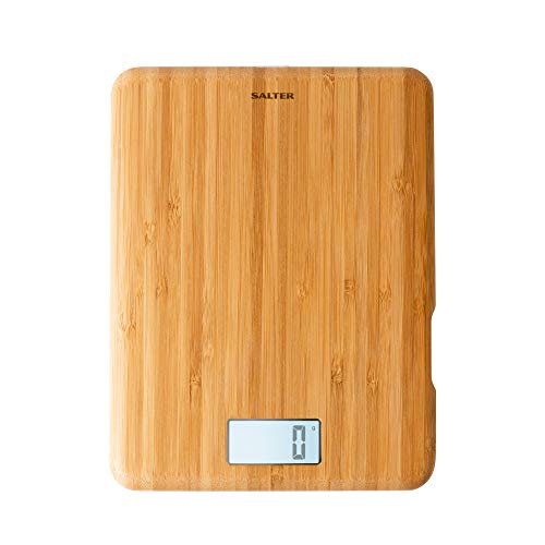 Salter Eco Bambus Digitale Küchenwaage - Wiederaufladbare elektrische Waage, Nachhaltig gefertigte & umweltfreundliche digitale Waage - Küchenwaage digital mit Tara-Funktion und modernem LCD-Display