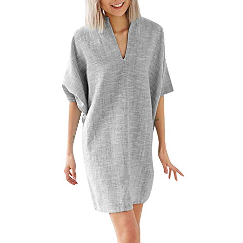 Mlide Women's Casual Dress Half Sleeve Button Down V-Neck Pockete Loose T-Shirt Dress Oversized Dress Casual Shift Dresses,Gray L