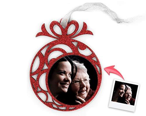 Getsingular Adornos de Navidad para árbol Personalizados con Foto   Adornos con Foto y Purpurina   Máxima Calidad de impresión   Incluye Cinta para Colgar   Modelo Bola fantasía Rojo