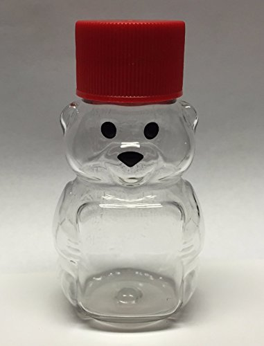 Clearview Container 24 Pack Honey bear with Screw cap Lid Plastic Squeeze Bear 2 oz with Cap (red)