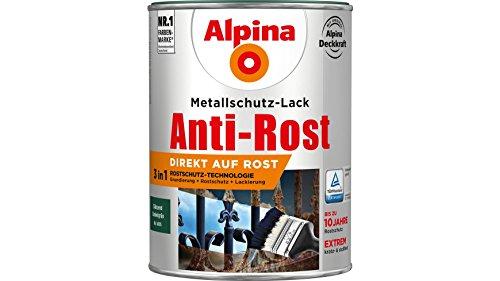 Alpina 2,5 L Metallschutz-Lack, 3in1 Direkt auf Rost, RAL 6005 Dunkelgrün Glänzend