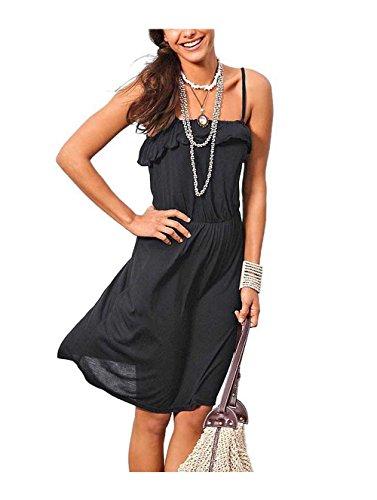 AJC Damen-Kleid Volantkleid Schwarz Größe 36