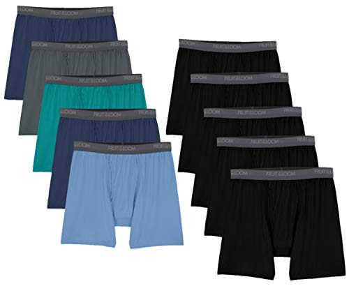 Fruit of the Loom Men's Lightweight Micro-Stretch Boxer Briefs, Brief-10 Pack-Assorted Colors, Small