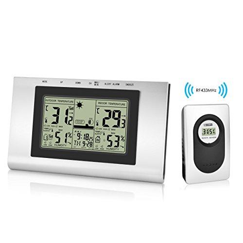 Elinker Wireless Wetterstation digital wasserdicht Indoor Outdoor Thermometer Hygrometer LCD Display mit Wert Min/Max Temperatur Temperatur Luftfeuchtigkeit, Vorsicht, Kalender, Wecker für die Bequemlichkeit des Hauses