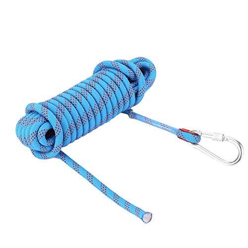 12mm Kletterseil mit Karabiner Sicherheitsseil Dauerhaft Survival Seil für Outdoor Aktivitäten (Blau 10m)
