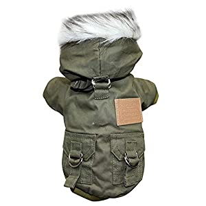 Soly Teche Dog Coat Small Dog Jacket Windproof Warm Padded Down Hoodie Snowsuit, Winter Dog Clothes for Cat Puppy Chihuahua Yorkie