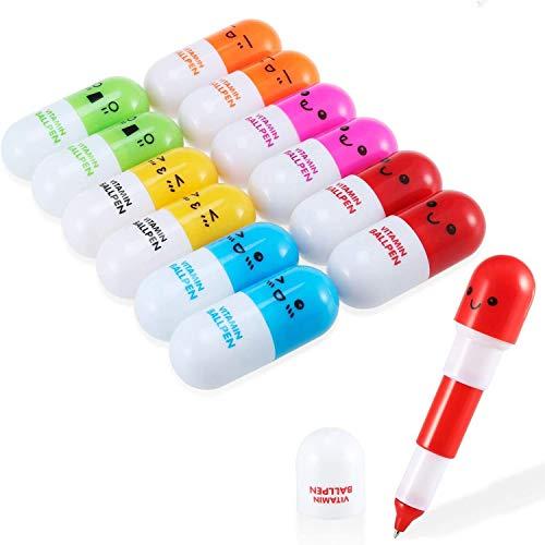 Multicolore Penne a scatto Creative Stationery Mini penne retrattili a forma di pillole, 6 Colori 12 Pcs